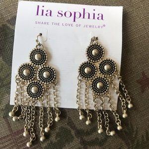 Lia Sophia black/gold chandelier fringe earrings
